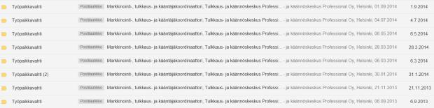 Kuvakaappaus sähköpostiini tulleista mollin lähettämistä ilmoituksista. Kuvasta näkyy, että Professional Oy haki koordinaatorin tehtävään työntekijää kahdeksan (!) kertaa yhden vuoden aikana.