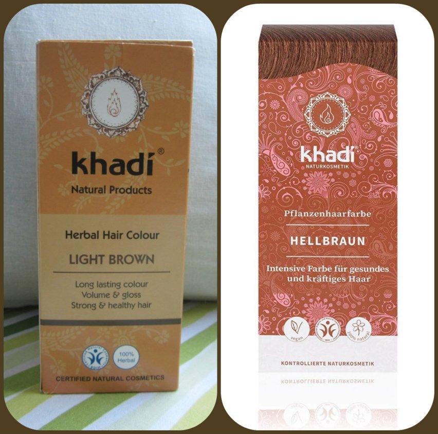 Khadi Light Brown eli vaaleanruskea Khadi. Kuvassa sama tuote, toisessa vanha ja toisessa uusi pakkausdesign.