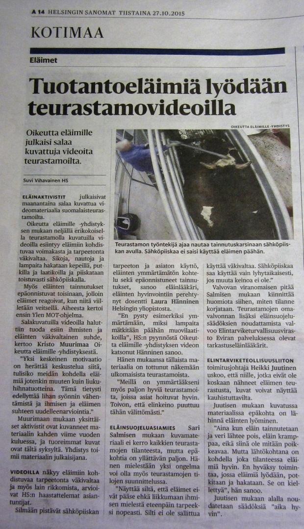 Tuotantoeläimiä lyödään teurastamovideoilla