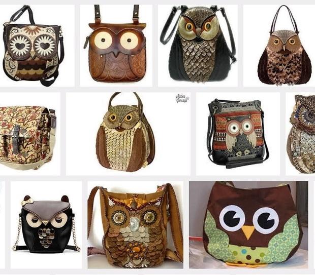 Kuvakaappaus Googlen kuvahausta. Hakusanat: owl bag.