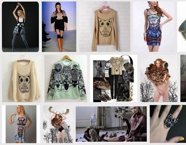 Kuvakaappaus Googlen kuvahausta. Hakusanat: owl fashion.