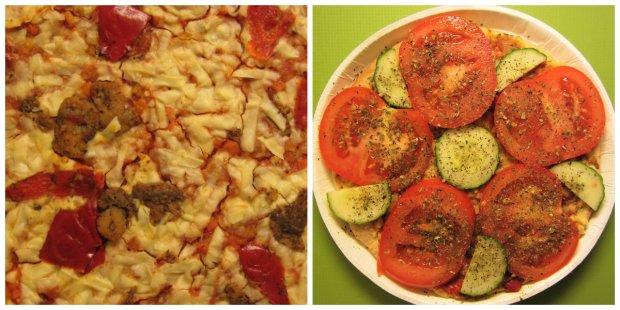 Minulla on tapana lisätä kasviksia jo valmiiksi kasvispitoisiin ruokiin, mikä selittää nämäkin tomaatti- ja kurkkuviipaleet.