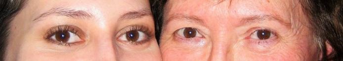 Silmäkaimat. Ruskeat silmät ovat äidin peruja. Nyt olen lähisukuni ainut ruskeasilmäinen. Haluan ajatella, että äiti asuu silmissäni.