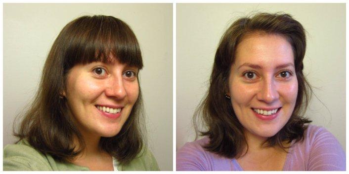 Otsatukalla vai ilman? Otsatukka on samanpituinen kummasakin kuvassa, mutta toisessa se on kammattu pois otsalta ja muotoiltu osaksi muita hiuksia.