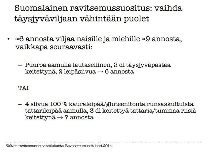 Kuinka paljon täysjyväviljoja tulisi syödä? Kalvo Reijo Laatikaisen esitelmästä.