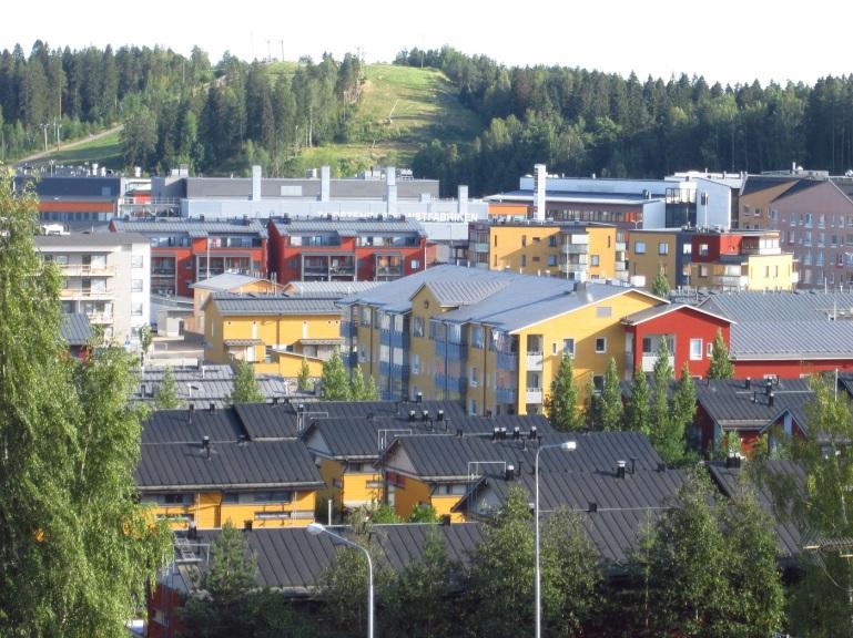 Nykyään kallis ja trendikäs Taidetehtaan kortteli ja sen ympäristö. Taustalla Kokonniemen hiihtokeskus.